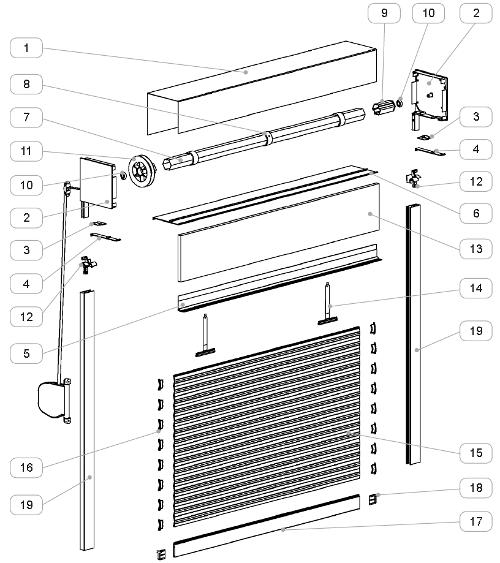 Roleta zewnętrzna Integro - przekrój