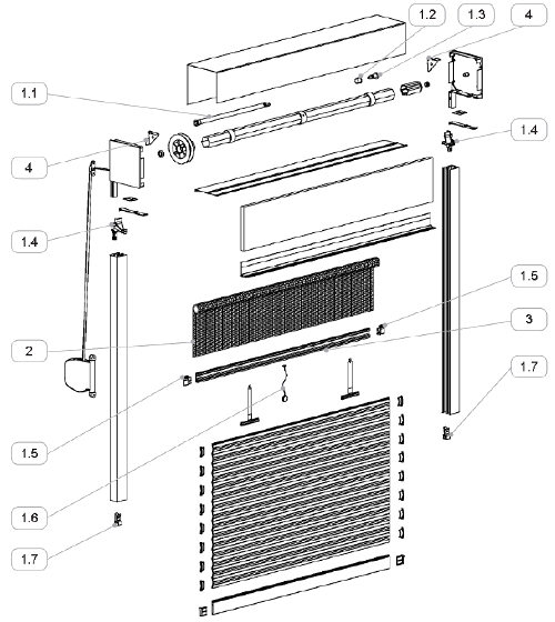 Roleta zewnętrzna integro z moskitierą - przekrój