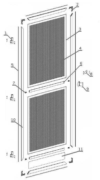 Moskitiera drzwiowa - przekrój