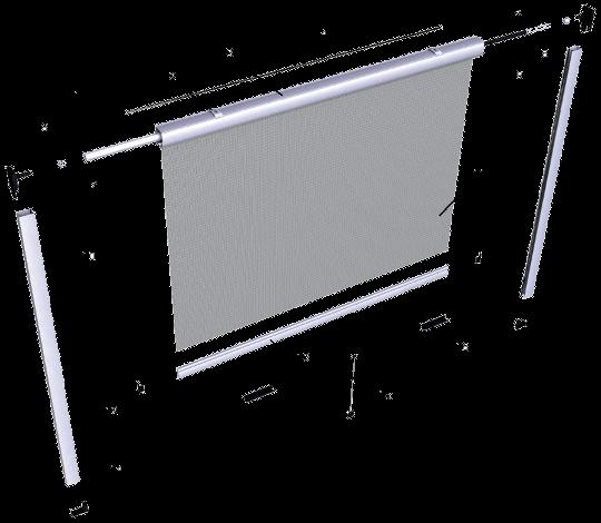 Moskitiera zwijana okienna - przekrój