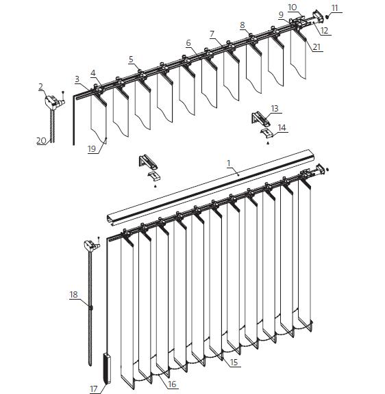 Żaluzja pionowa vertical - przekrój